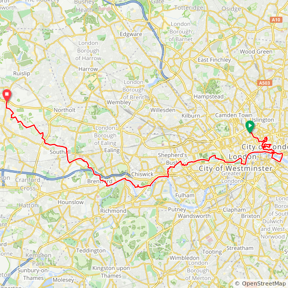 Map image of a Trip from September 22, 2019