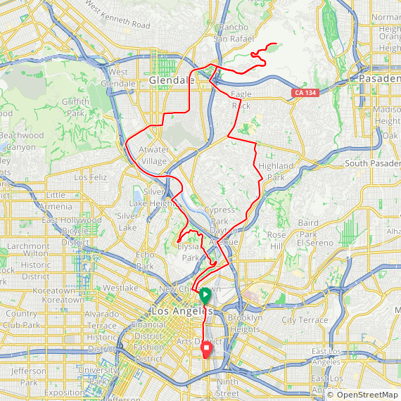 Map image of a Trip from November 10, 2019