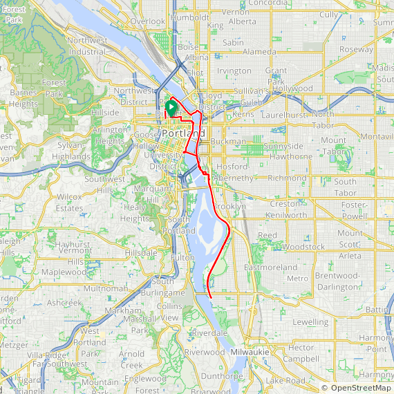 Map image of a Trip from March 12, 2015