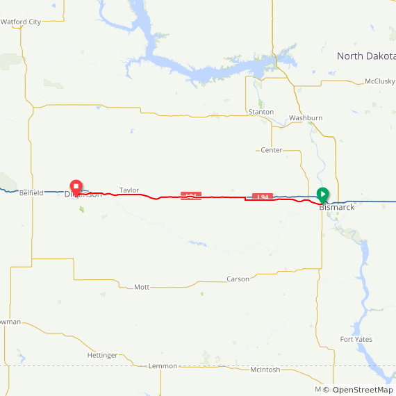 Map image of a Trip from June 18, 2015