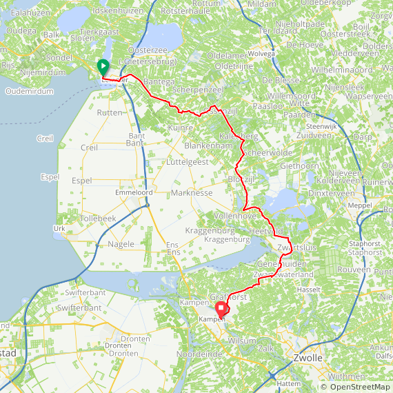 Map image of a Trip from July 27, 2015