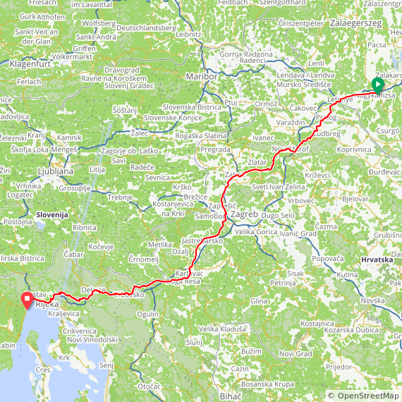 Map image of a Trip from August  1, 2015