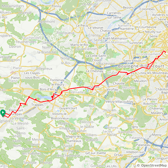 Map image of a Trip from August 15, 2015