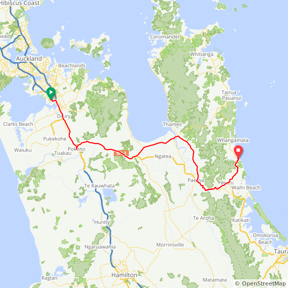 Map image of a Trip from January 11, 2016