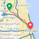 Map image of a Trip from August 10, 2015